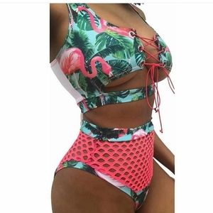 Tropical pattern with Pink mesh bottom Bikini